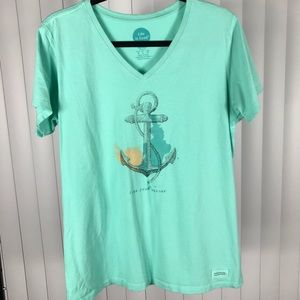 "Life is Good ""Find Your Anchor"" Green T-shirt"